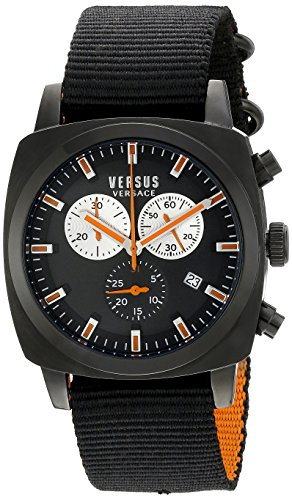 Versus by Versace Men's SOI020015 RIVERDALE Black Stainless Steel Watch with Canvas - Men Versace Versus