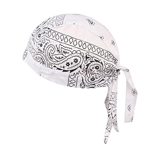 Kimloog Quickly Dry Wicking Breathable Sports Skull Cap Breathable Cycling Bandana Headwear (White)