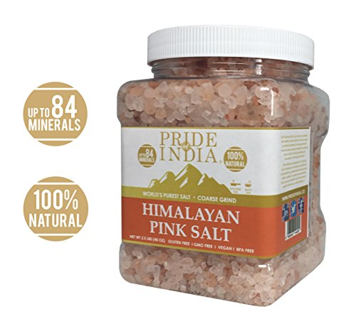 Pride Of India - Pure Himalayan Pink Salt - Enriched w/84+ Natural Minerals, Coarse Grind 2.5 Pound (40oz) Jar - Himalayan Salt, Himalayan Pink Salt, Pink Himalayan Salt, Grind Salt, Pure Rock Salt ()