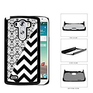 Black & White Floral Damask Pattern with Black/White Chevron Pattern LG G3 VS985 Hard Snap on Plastic Cell Phone Case Cover