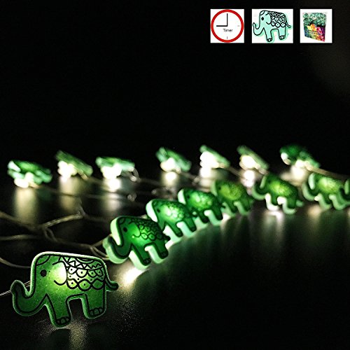 Battery Operated String Lights Elephant with Timer Control 20 Micro LED Wire Lights Waterproof Outdoor for Garden,Patio,Christmas,Holiday,Valentine's …