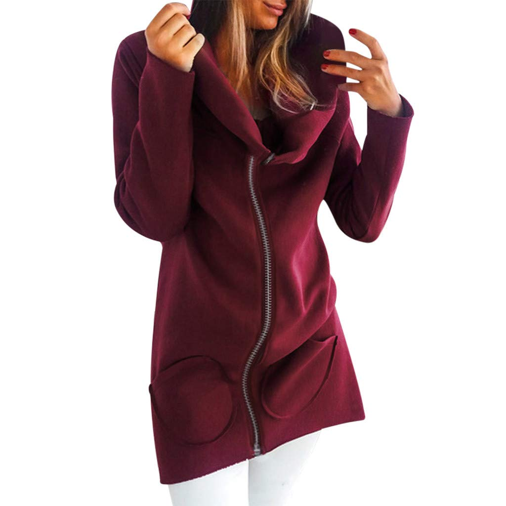 ERLOU Women Solid Long Sleeve Zip-Up Jacket Loose Casual Cardigan Top Hoodies Long Coat with Pocket (Red, L) by ERLOU Women