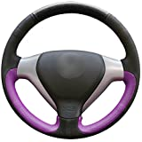 MEWANT Black Purple Artificial Leather Black Suede 3D Car Steering Wheel Cover for Honda Old City Fit Jazz