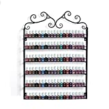 Metal Nail Polish Wall Mount Stand Rack Organizer Capacity of 120 Bottles (Black)