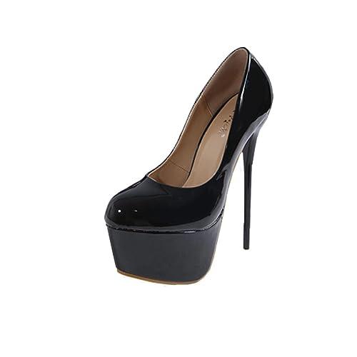 Solike Chaussures Femme Sexy Femmes Escarpins Plate-Forme Chaussures à  Talons Hauts Printemps Été Sandales 4e8e6999d536