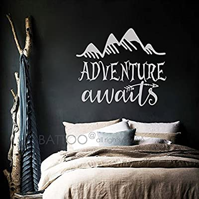 BATTOO Adventure awaits Wall Decal Quote - Wanderlust Decal - Adventure Stickers Home Wall Stickers Wanderlust Wall stickers - Arrow Mountain Wall Decals