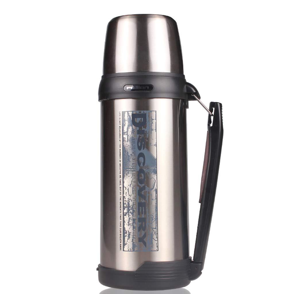 HQSB Thermoskanne -1.8L Isolierte Premium Thermosflasche aus Edelstahl-BPA-freies Metall für Outdoor, Camping, Arbeit (Farbe : Steel Colour)
