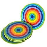 CinMin Rainbow Striped Stoneware Ceramic Appetizer