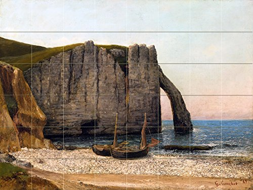 Seascape by Gustave Courbet Tile Mural Kitchen Bathroom Wall Backsplash Behind Stove Range Sink Splashback 8x6 4'' Marble, Matte by FlekmanArt