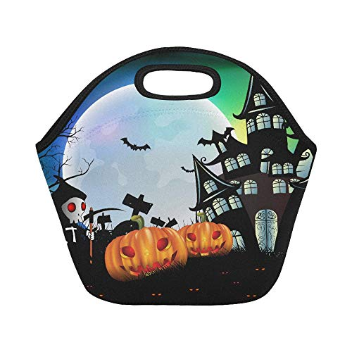 Insulated Neoprene Lunch Bag Happy Halloween Background With Pumpkin Haunted H Large Size Reusable Thermal Thick Lunch Tote Bags For Lunch Boxes For Outdoors,work, Office, School