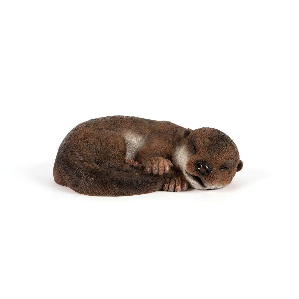 "Outdoor Garden Patio Sleeping Baby Otter Statue Figurine Ornament from Hampton Style 1.9"" (H) x 7.8"" (w)"