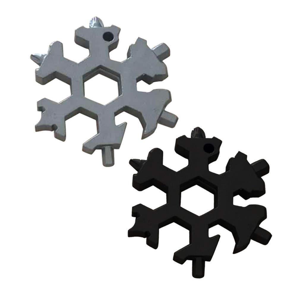 Cooljun La dernière carte à outils en acier inoxydable avec flocon de neige, carte multi-outils 19-en-1 / voyage de plein air, camping, porte-clés EDC multifonction porte-clés EDC multifonction