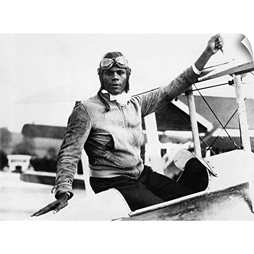 CANVAS ON DEMAND Wall Peel Wall Art Print Entitled Hubert Julian at Abridge Aerodrome, in Essex, England 30