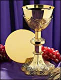 Vine Embossed Priest Chalice and Paten Set Church Supplies Religious Goods