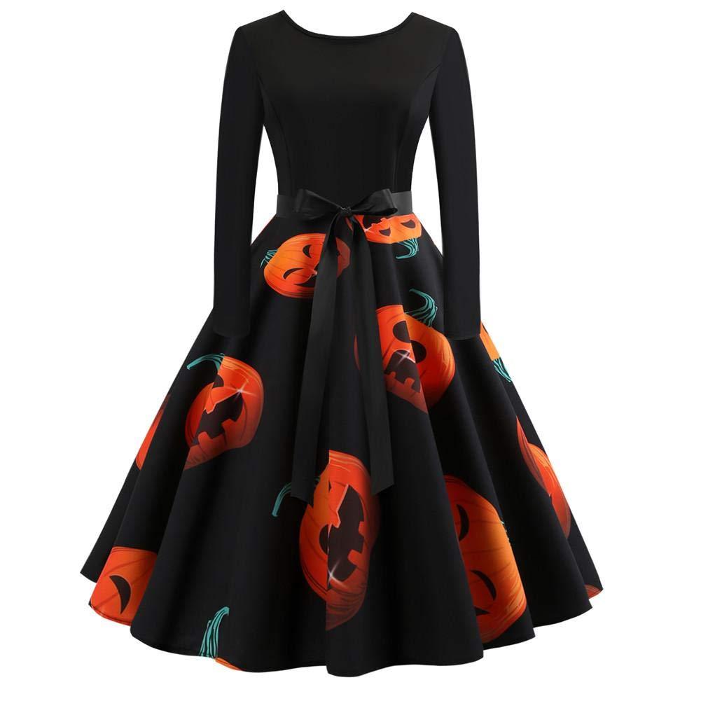 Halloween Pumpkin Head Dress Vintage Printing Long Sleeve Flare Fashion Swing Dress Halloween Costumes Print Skirt for Party Evening DZSJ