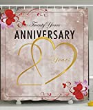 20th Anniversary Gifts Twenty Years Together Celebration Happy Couple Hearts Golden Rose Home Decorations Bathroom Decor Fabric Shower Curtain Lilac Red Beige Gold