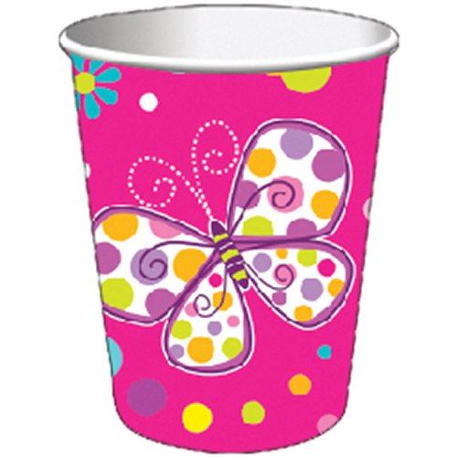 8-Count 9-Ounce Hot/Cold Beverage Cups, Butterfly Sparkle -
