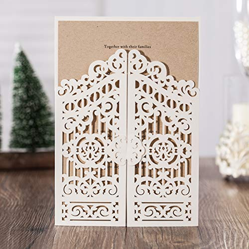 (WISHMADE 1 Sample White Laser Cut Gate Fold Invites Kit for Wedding, Printable Blank Invitation for Quincenera Birthday Engagement Graduation Party Housewarming Paraboda)