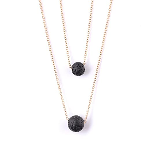 Meolin Aromatherapy Double Layer Lava Rock Pendant Necklace Essential Oil Diffuser Necklace