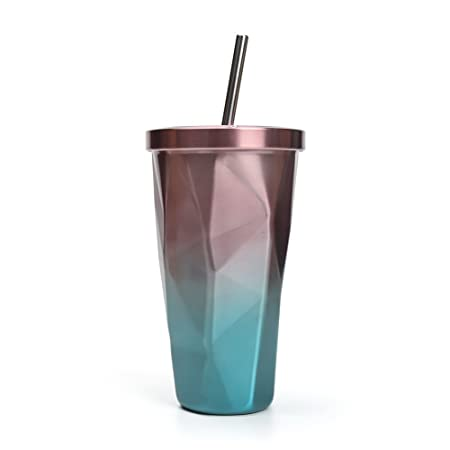 b63e76f2f1c Naisicatar Fashion Thicken Stainless Steel Insulated Cup With Straws Double  Wall Drinking Cups with Lid: Amazon.co.uk: Kitchen & Home