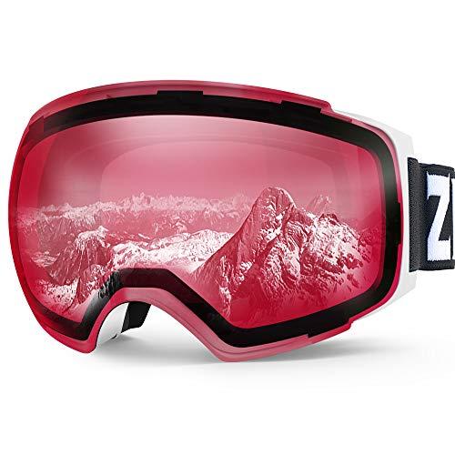 (Zionor X4 Ski Snowboard Snow Goggles Magnet Dual Layers Lens Spherical Design Anti-Fog UV Protection Anti-Slip Strap for Men Women)
