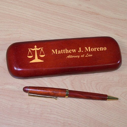Lawyer Rosewood Pen Set, Personalized, Engraved - Engraved Desk Sets