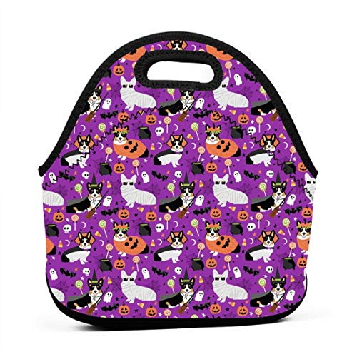 Tri-Colored Corgi Halloween Costumes Mummy Vampire Ghost Just Dog (smaller Version) Lunch Bag Insulated Thermal Lunch Tote Outdoor Travel Picnic Carry Case Lunchbox Handbags with -