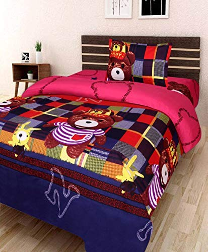 Swiss India 180TC Polycotton 3D Printed Single Bedsheet with 1 Pillow Cover (Multicolour)