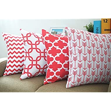 Coral Red Set of 4 Howarmer® Canvas Cotton Decorative Coral Color Throw Pillows Geometric Pattern Cushion Cover for Couch Set of 4 --Coral Red Arrow Pattern,coral Quatrefoil,red Trellis,red Chevron Accent 18 x18