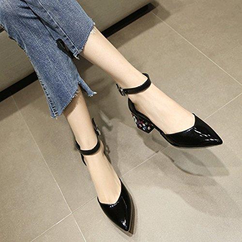 Jqdyl High Heels Damen Einzel Schuhe Dicke High Heels Spitze Jahreszeiten Sandalen Schuhe  37|Black