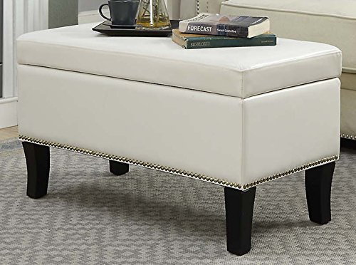 Convenience Concepts Winslow Storage Ottoman, Ivory