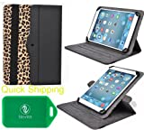 Plum Link Plus , Plum Z708 , Posh Equal , Posh Equal Lite W700, Prontotec Axius 7, POSH Equal S700a Protective Tablet travel case and stand with lanscape and portrait veiwing options(Leopard)