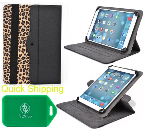 Plum Link Plus , Plum Z708 , Posh Equal , Posh Equal Lite W700, Prontotec Axius 7, POSH Equal S700a Protective Tablet travel case and stand with lanscape and portrait veiwing options(Leopard) by Kroo