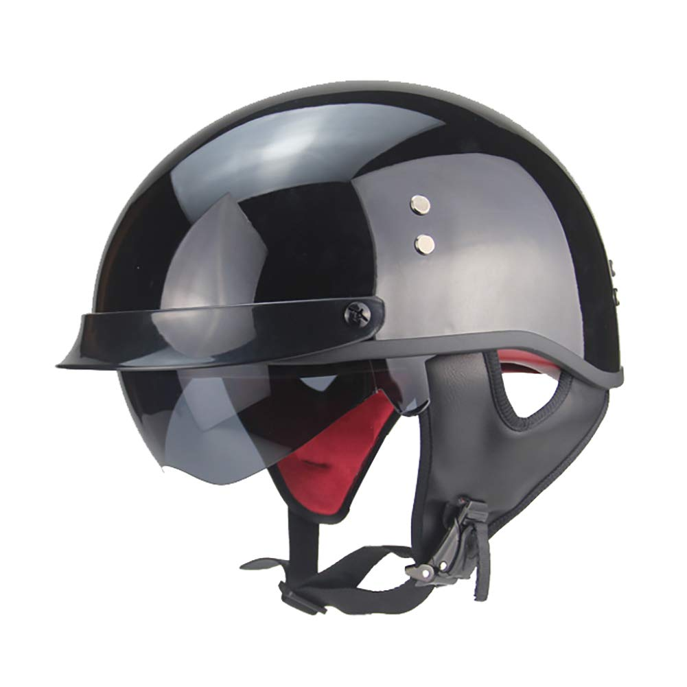 TKer Adults Men & Women Open Face Helmet with Goggles for Motorcycle Scooter Baseball, Universal Size Breathable Jet Half Helmet DOT Approved, Black,L by TKer