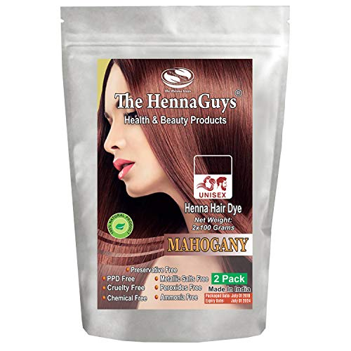 - 2 Packs of Mahogany Henna Hair & Beard Dye/Color - 100% Natural & Chemical Free - The Henna Guys