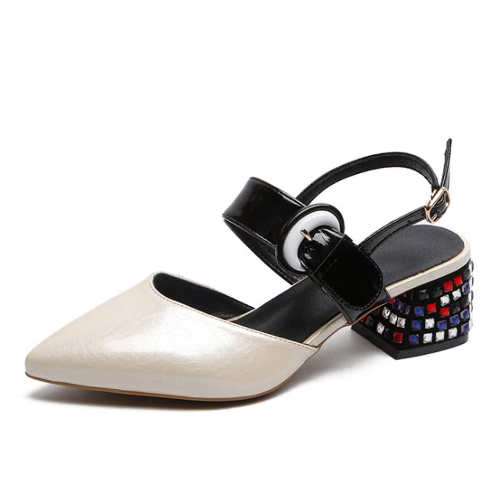 Sandales à Talons épais épais Chaussures pour Femmes en Strass Pointues Sandales de Couleur sauvage-blanc-35  le réseau le plus bas