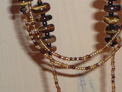 Amber Mix - Tiger's Eye Beaded Eyeglass Chain Handmade Amber Mix 28 inches Fancy Ends NEW