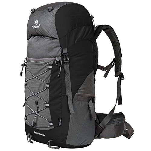 Coreal Unisex 50l Hiking Backpack for Travel Outdoor Sport Camping Trekking Lightweight Black from Coreal