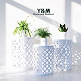 Y&M Round Metal Garden Stool,Side Table for Indoor Outdoor Use,Plant Stand,Set of 3 (White)