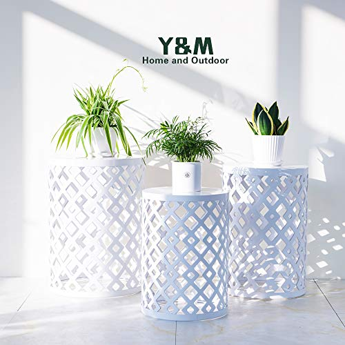 Y&M Round Metal Garden Stool,Side Table for Indoor Outdoor Use,Plant Stand,Set of 3 (White) by Y&M (Image #6)