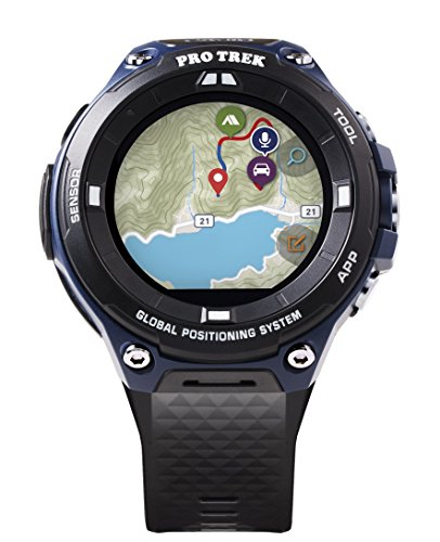 Casio Men's Pro Trek Outdoor GPS Resin Sports Watch, Color Black & Indigo Blue (Model WSD-F20A-BUAAU)