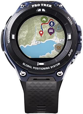 Casio Men's Pro Trek Outdoor GPS Resin Sports Watch, Color Black & Indigo Blue (Model WSD-F20A-BUAAU)
