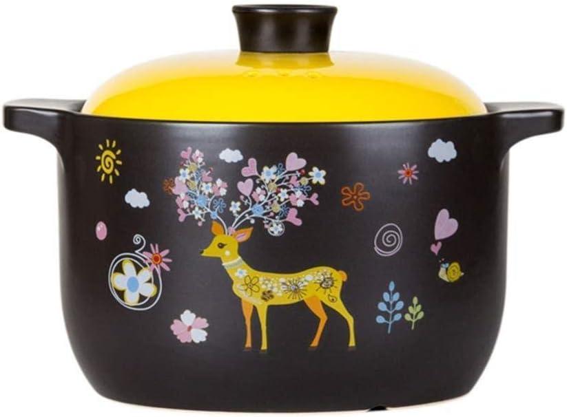 LIUSHI Terracotta Pot Casserole Terracotta Pot Ceramic Pot Terracotta Pot Clay - Healthy Materials Improved Nutrition Durable-3.8L_A