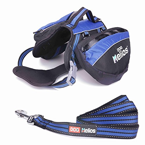 DOG HELIOS 3-in-1 Waterproof Explorer Convertible Backpack,Dog Reflective Harness With Removable Saddlebags for Traveling Hiking Camping M Blue by DOG HELIOS