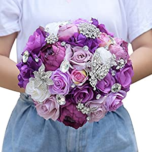 Abbie Home Bride Rose Bouquet - Lavender Rose Peony Purple Theme Wedding Flowers with Crystal Rhinestone Jewelry Decoration 6