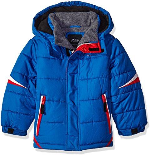 F.O.G. by London Fog Big Boys' Puffer Jacket with Contrast Zipper, Blue, 14/16