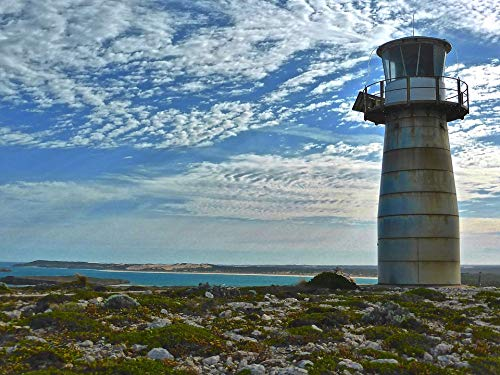 Home Comforts Canvas Print Coast West Cape Innes National Park Lighthouse Sky Vivid Imagery Stretched Canvas 32 x 24