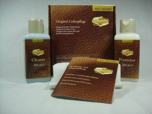 LongLife Lederpflegeset Anti-Ageing MAXI, je 250ml Cleaner & Protector