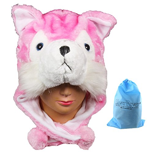 Silver Fever Plush Soft Animal Beanie Hat (Pink Fox) - Grey Fox Costume For Sale