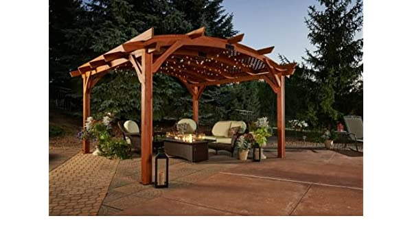 16 X 16 Sonoma arco pergola de madera con entramado para techo y pared de privacidad – Redwood Acabado: Amazon.es: Jardín